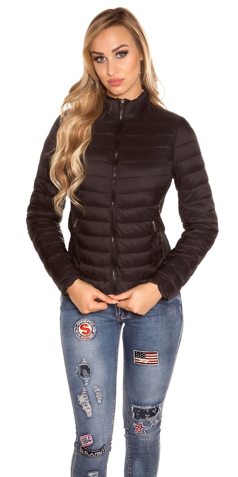 Trendy quilted transition jacket w. standup collar Black