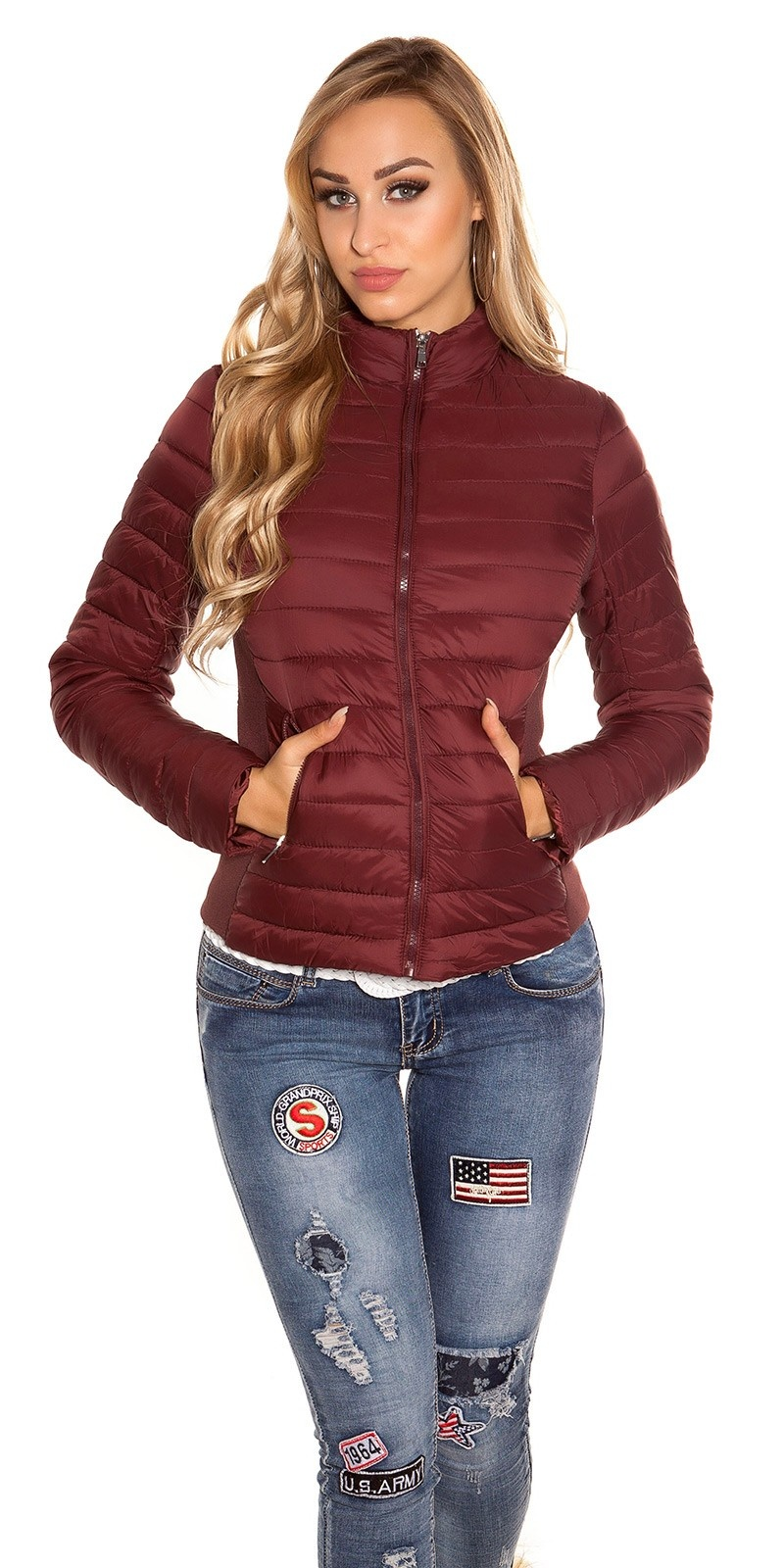 Trendy quilted transition jacket w. standup collar Bordeaux
