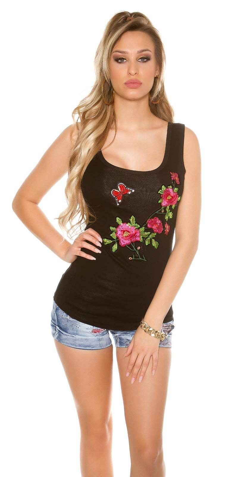 Sexy tank top with floral embroidery Black