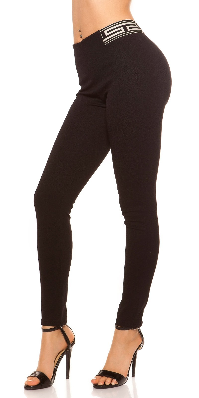 Sexy Highwaist Leggings with Pattern Black