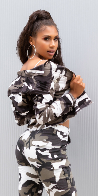 Sexy cropped military style jacket Camouflage