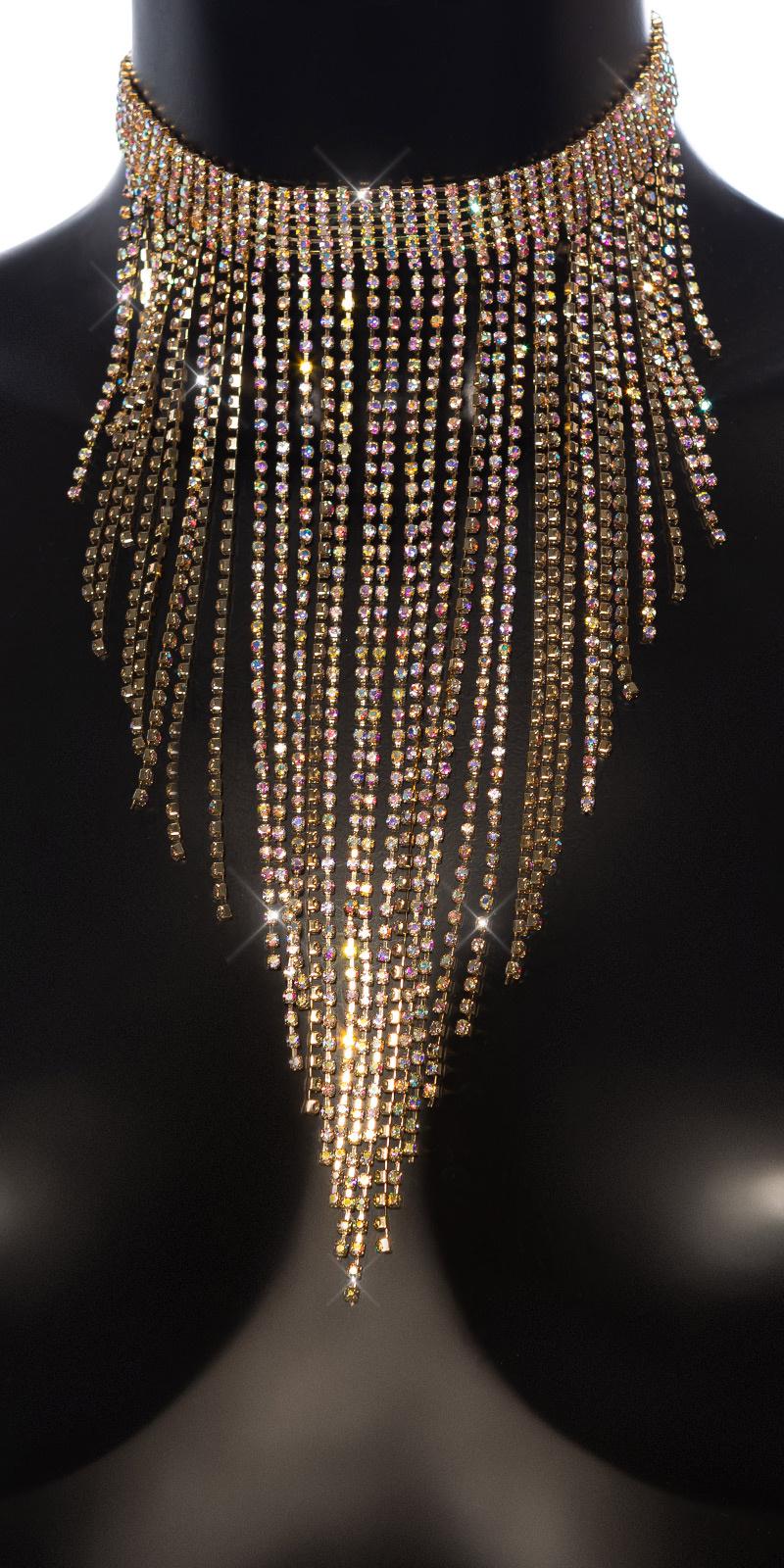 Sexy grote halsketting met rhinestones goud