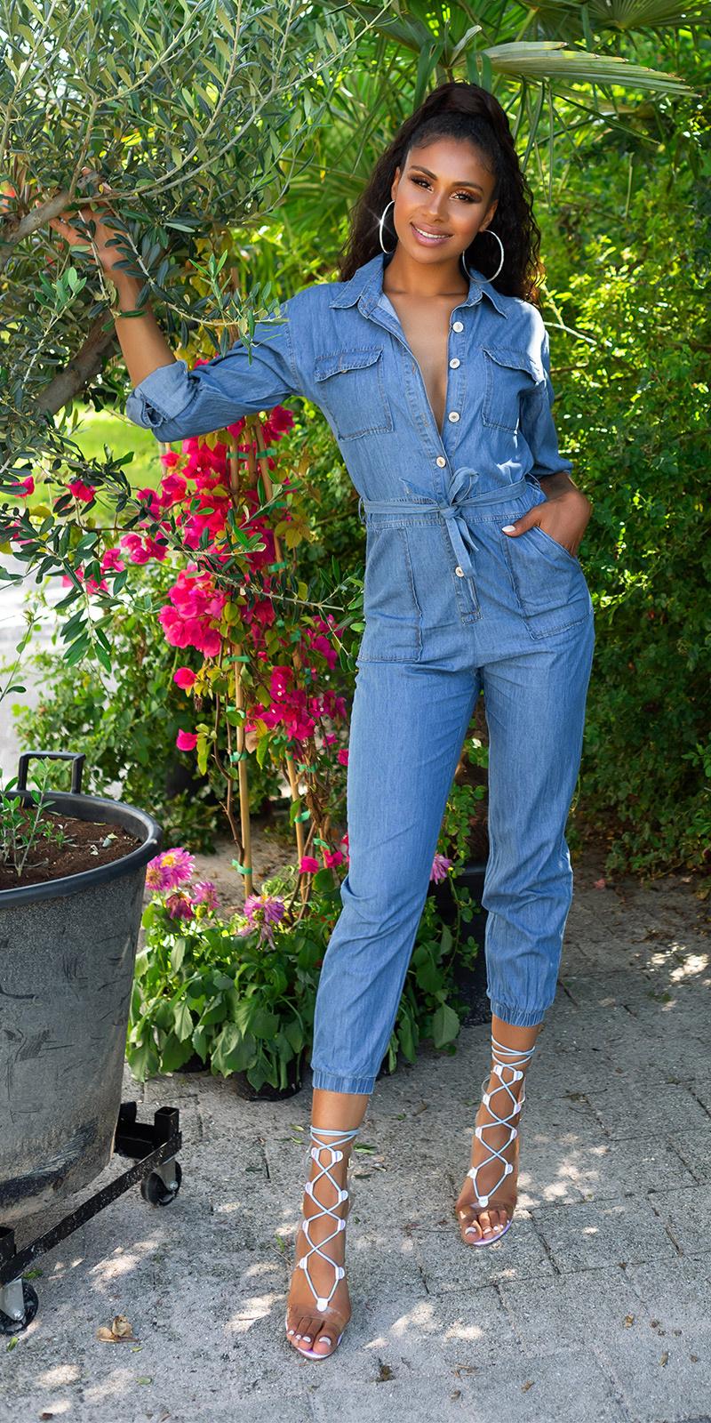 Trendy jeans-overall met riem blauw
