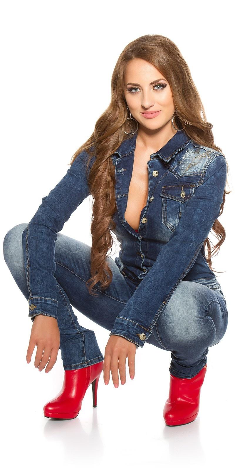 Sexy denim jumpsuit with rivets & rhinestones Jeansblue