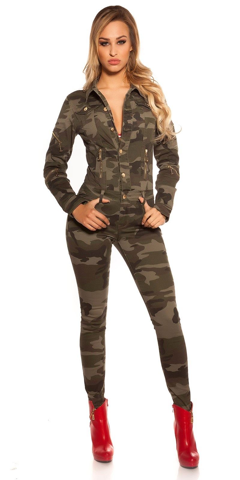 Sexy Camouflage Jeans jumpsuit with zips Army