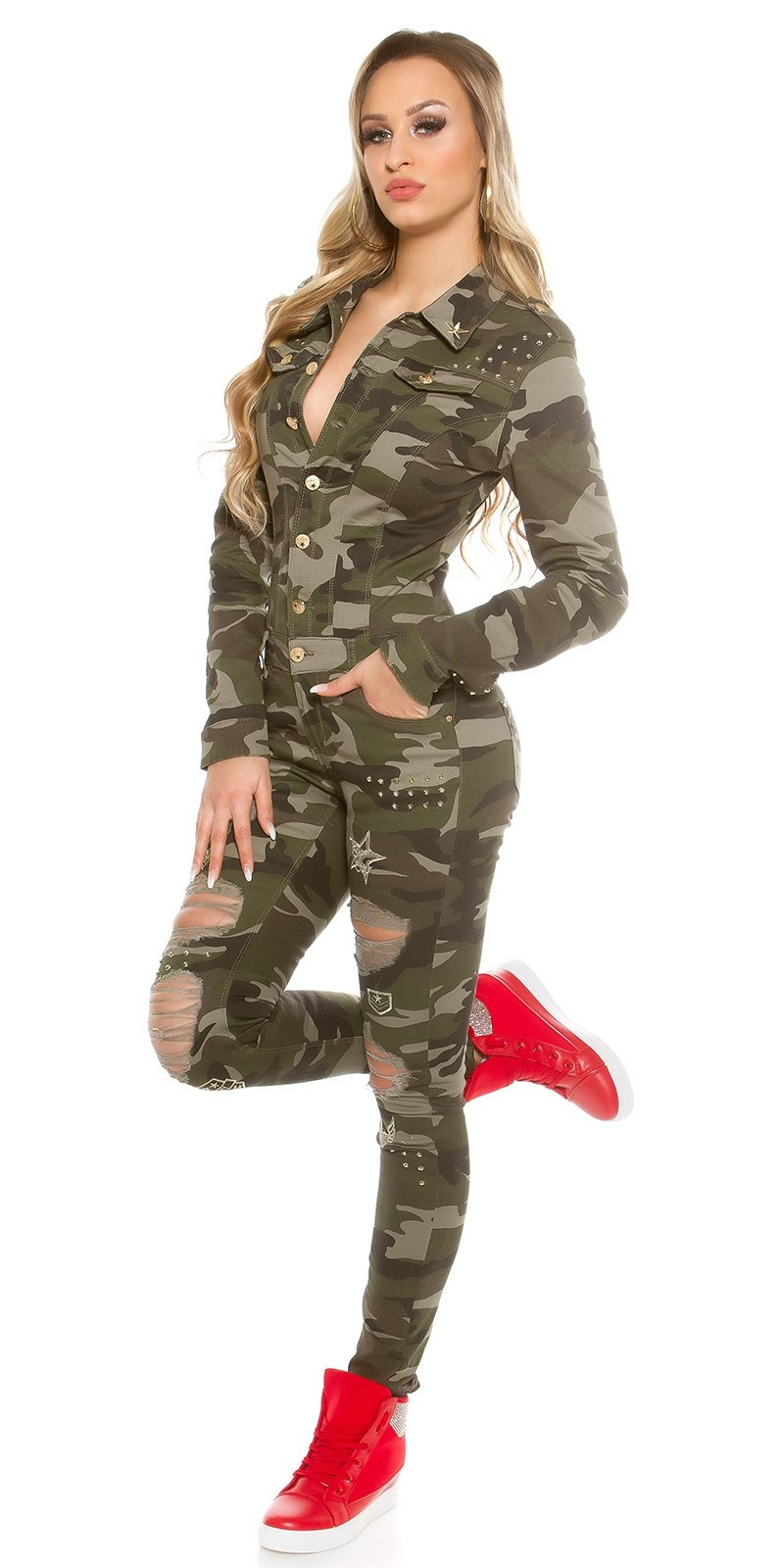Sexy Jeans Camouflage jumpsuit with studs Army