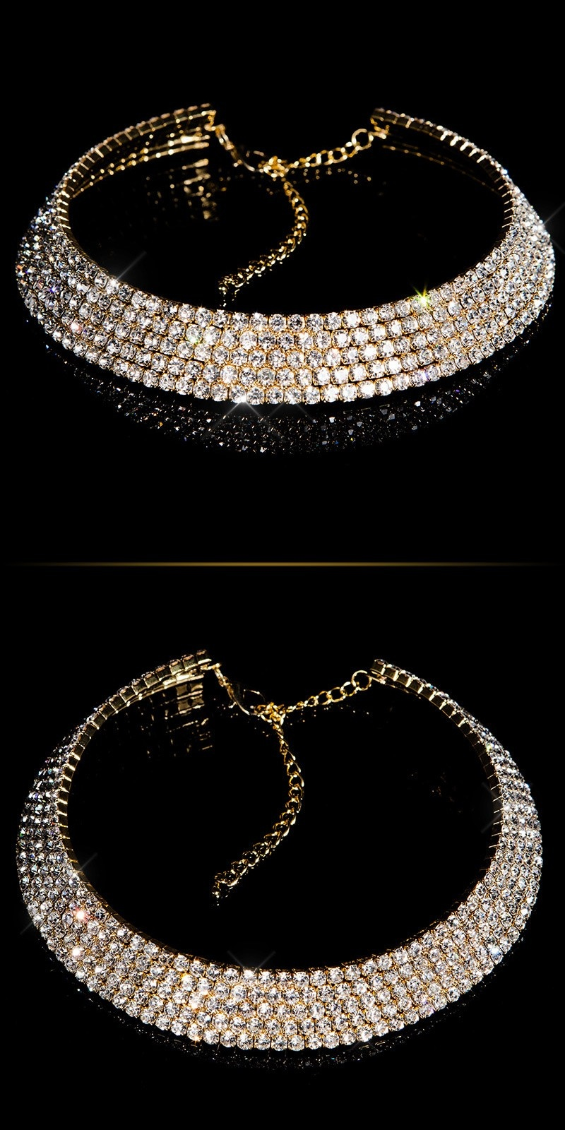 Luxurious Rhinestone-Collier Gold