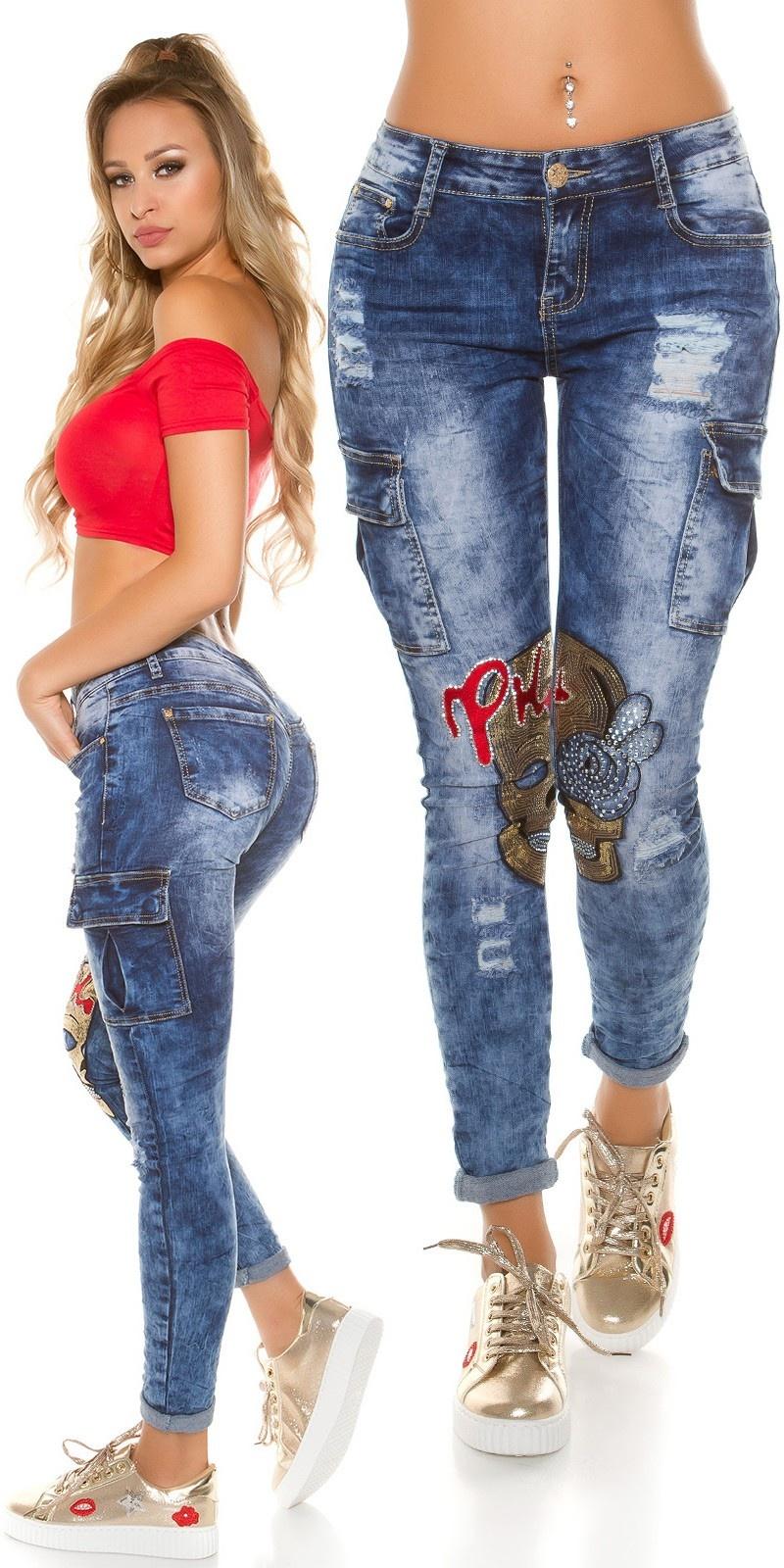 Sexy skinny jeans met pailletten & strass steentjes jeansblauw