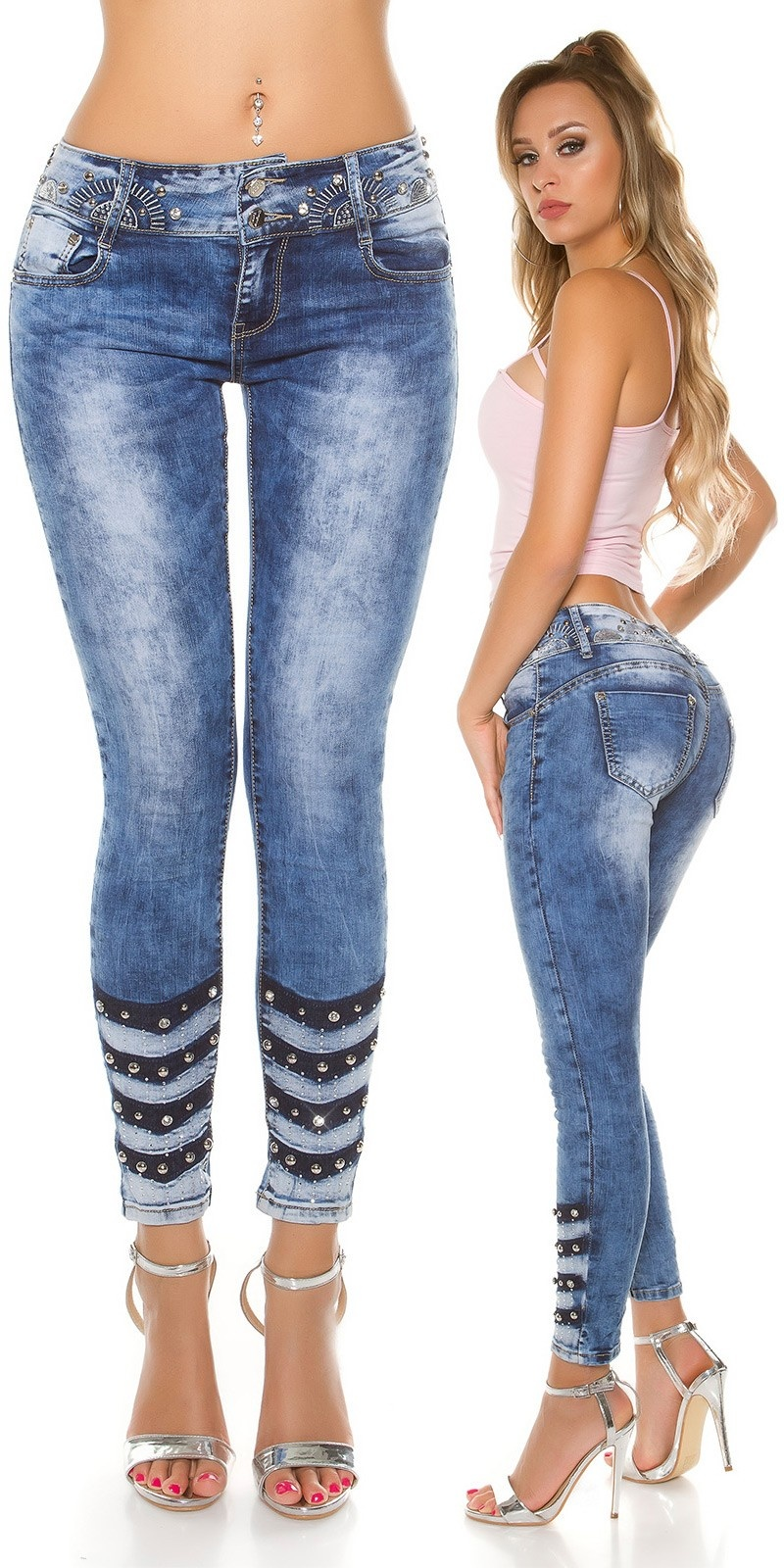 Sexy Skinny Jeans with rivets & rhinestones Jeansblue