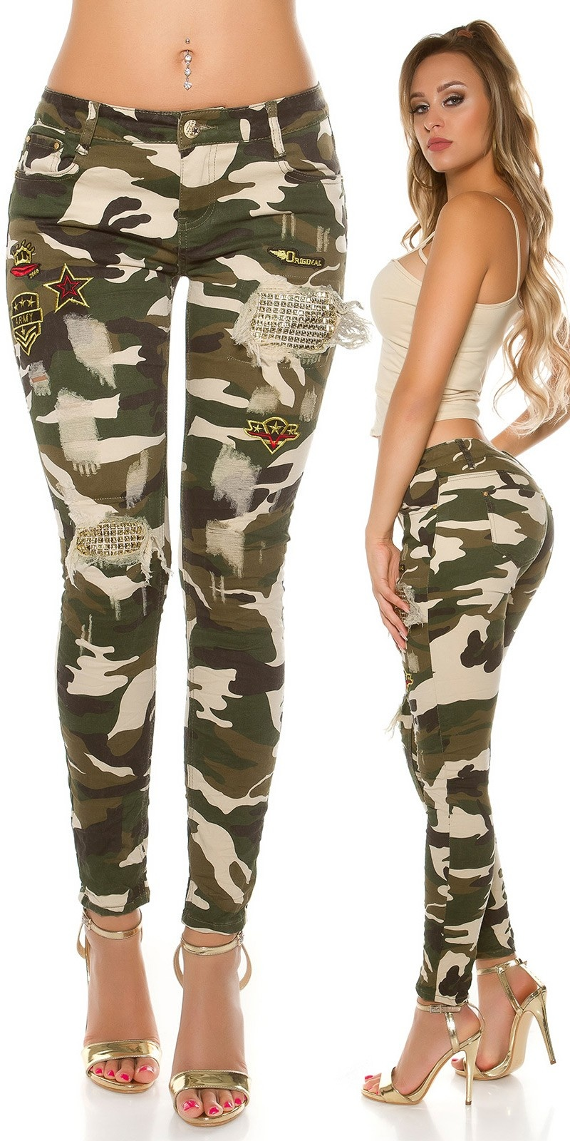 Sexy Camo Jeans Used Look Rivets & Patches Army