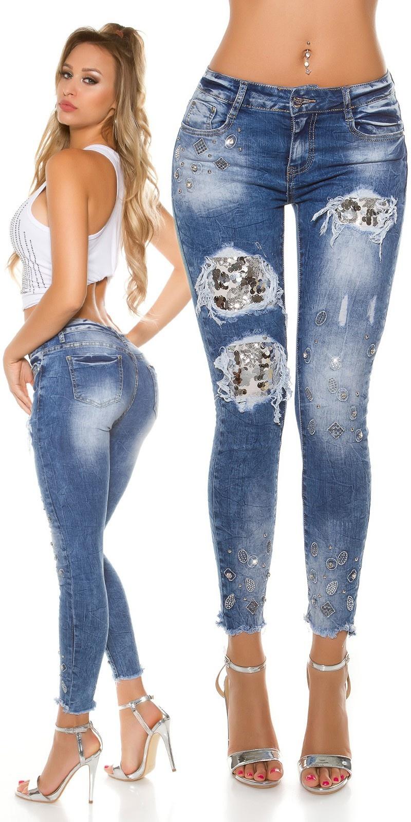 Sexy skinny jeans met pailletten en strass steentjes jeansblauw