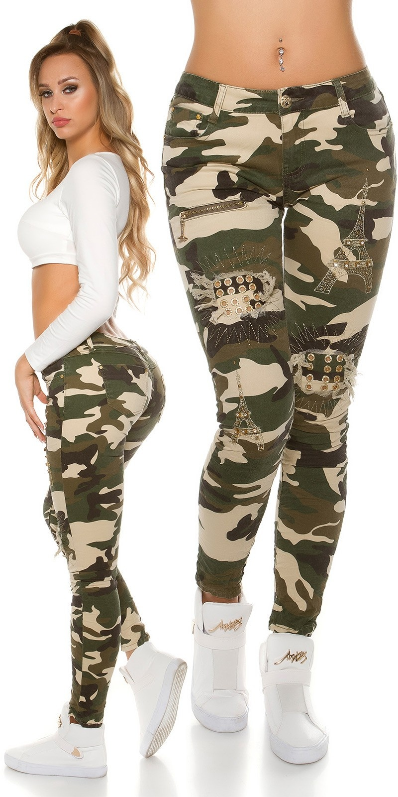 Trendy camouflage Jeans with eyelets & rhinestones Army