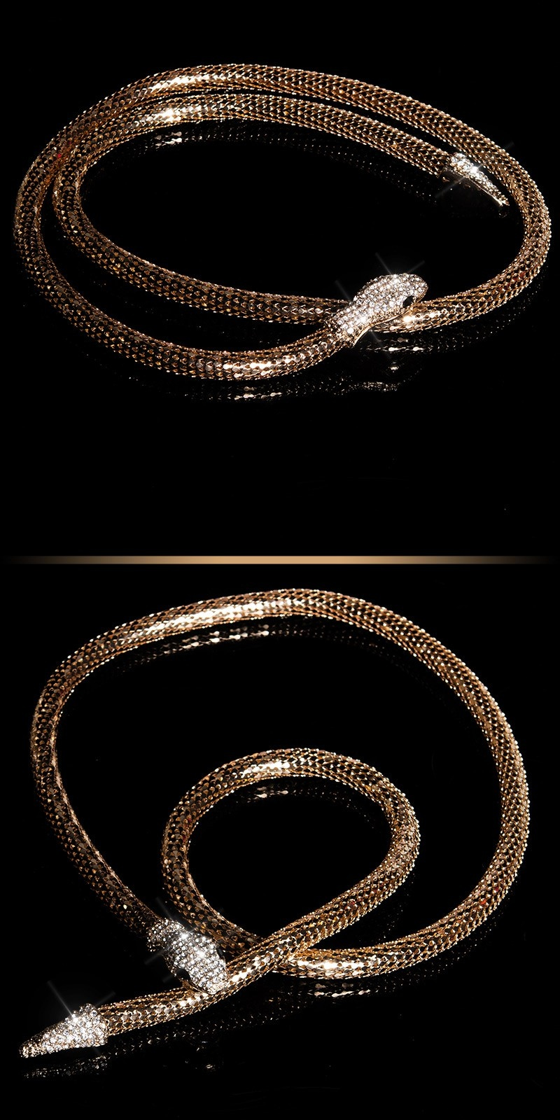 Trendy ketting-armband-riem goud