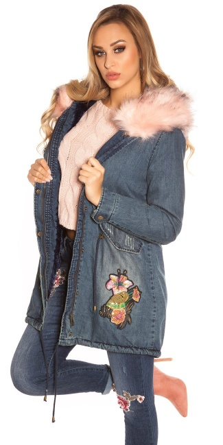 TrendyJeans Parka lined fake fur & embroidery Rose