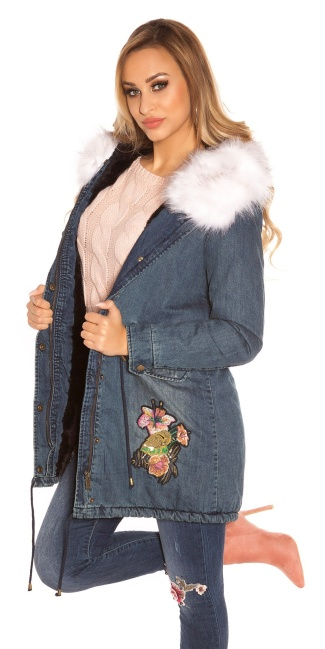 TrendyJeans Parka lined fake fur & embroidery White