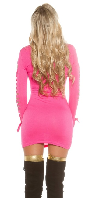 Sexy roll collarmini dress with dirty cracks Fuchsia