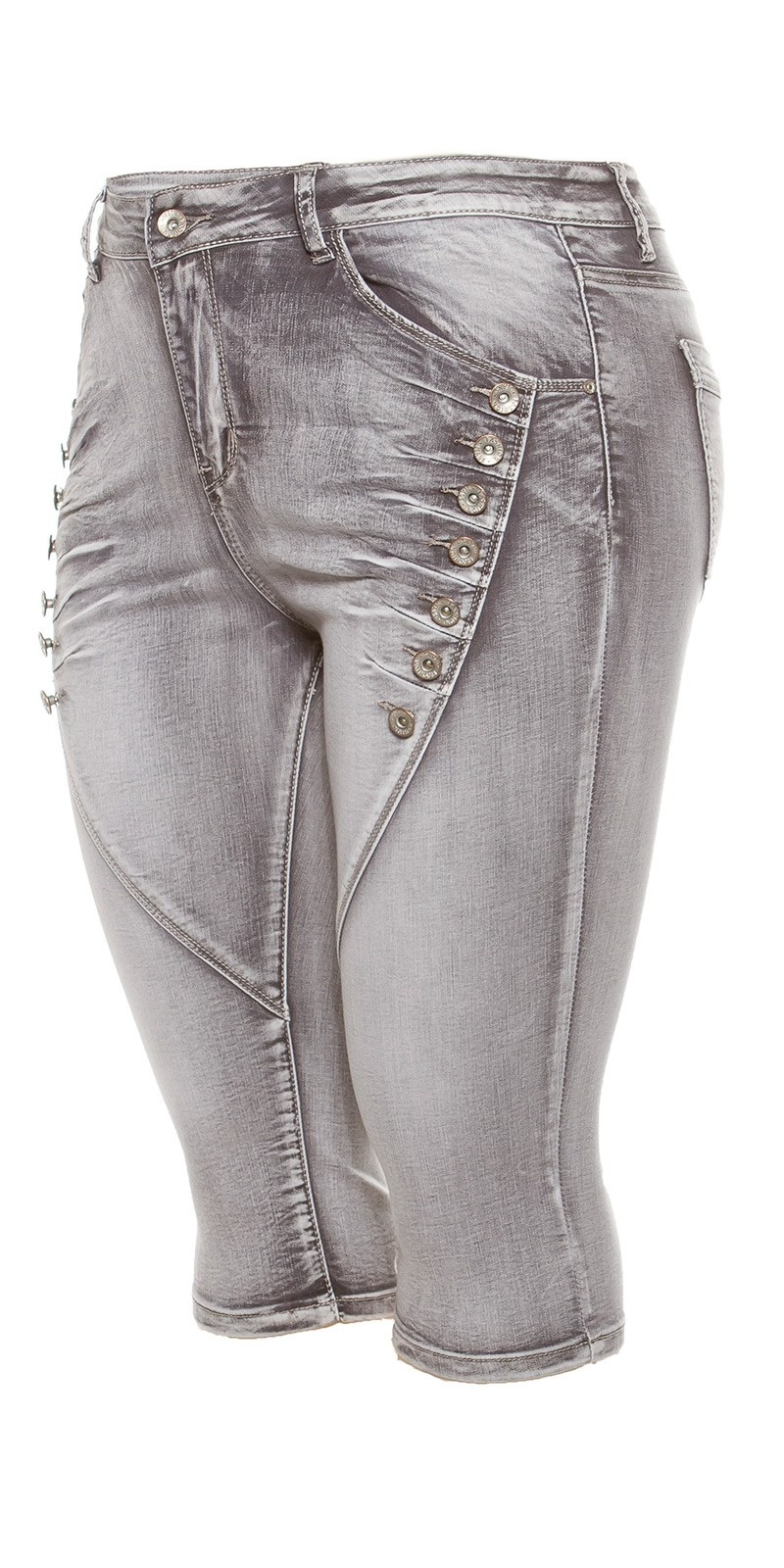 Curvy Girls Size! Trendy Capri Jeans knee-length Grey