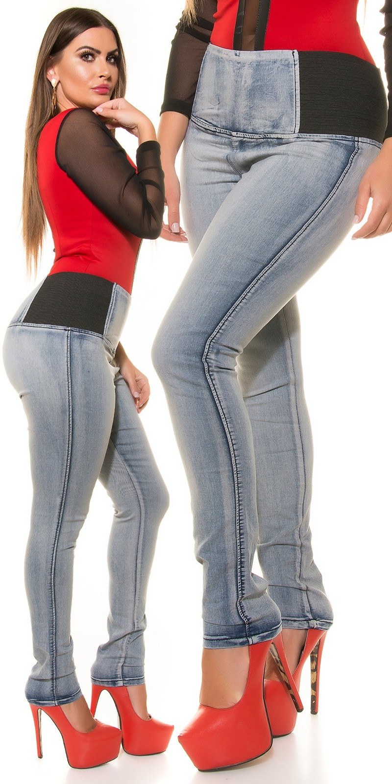 Curvy Girls Size! High Waist Skinny Jeans Jeansblue