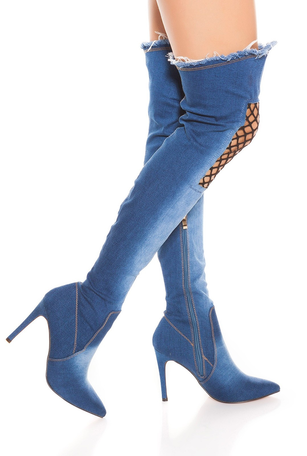 Sexy High Heel Jeans Overknees with Net Decor Darkblue