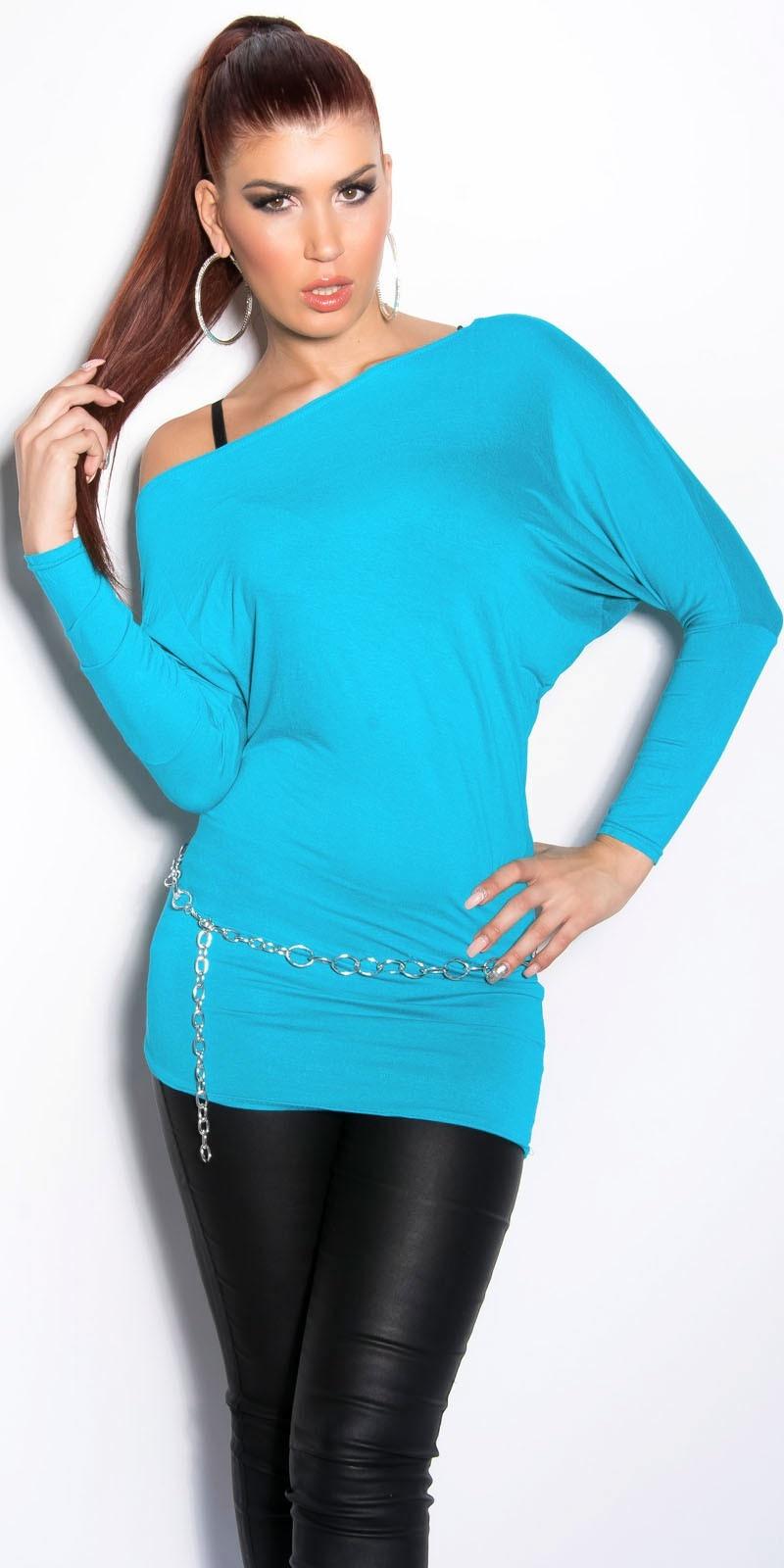 Sexy vleermuis-shirt turkoois-kleurig