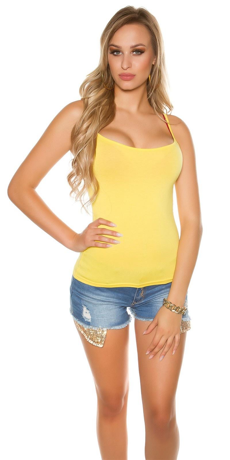Sexy spaghetti-strap top Yellow