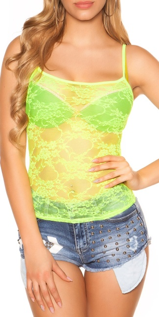 Sexy lace top, transparent Neonyellow