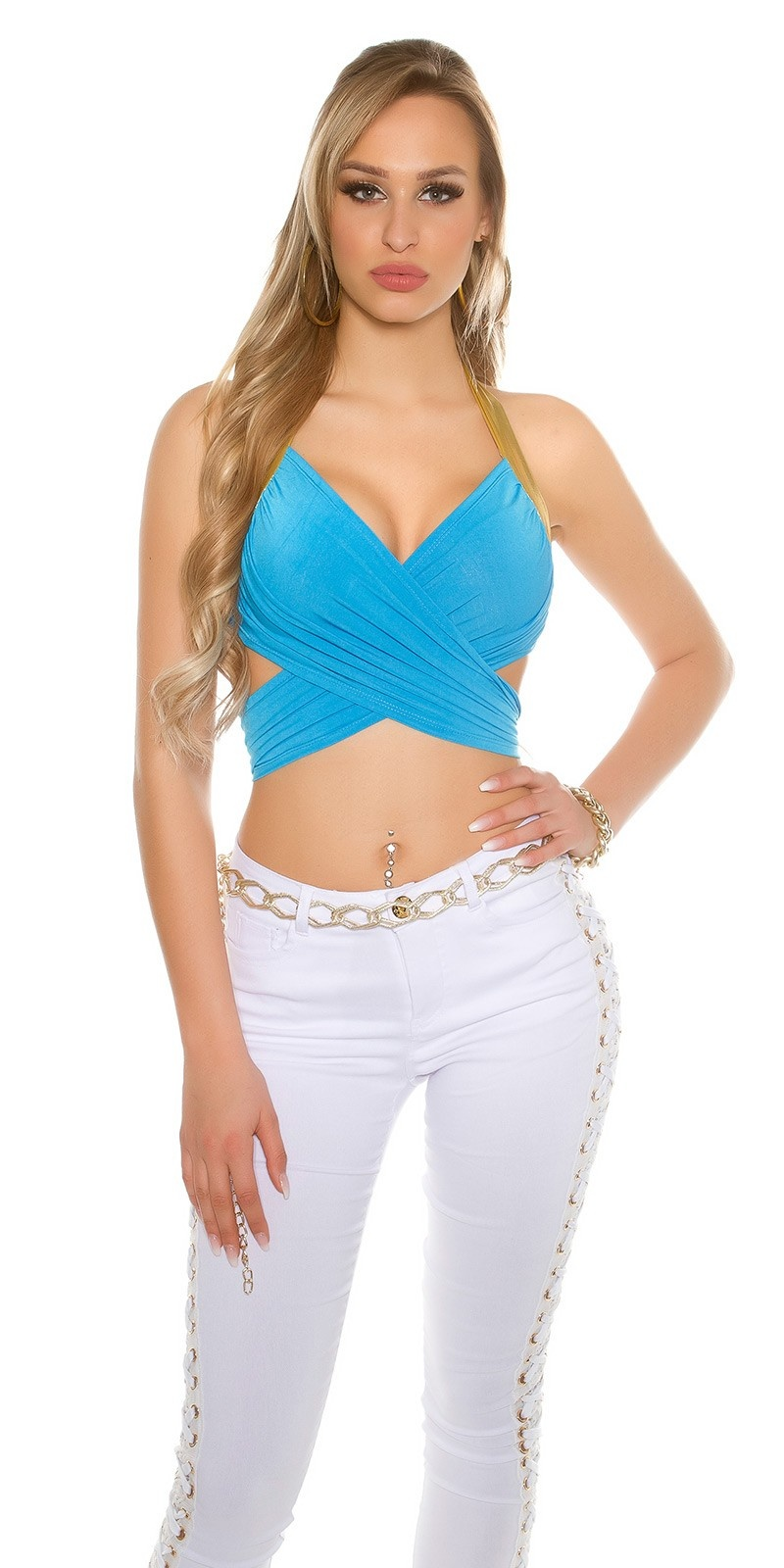 Sexy wrap top Turquoisegold