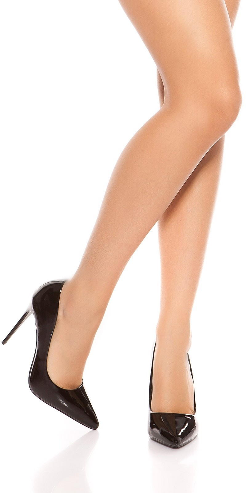 Sexy high heels in a lacquer look Black