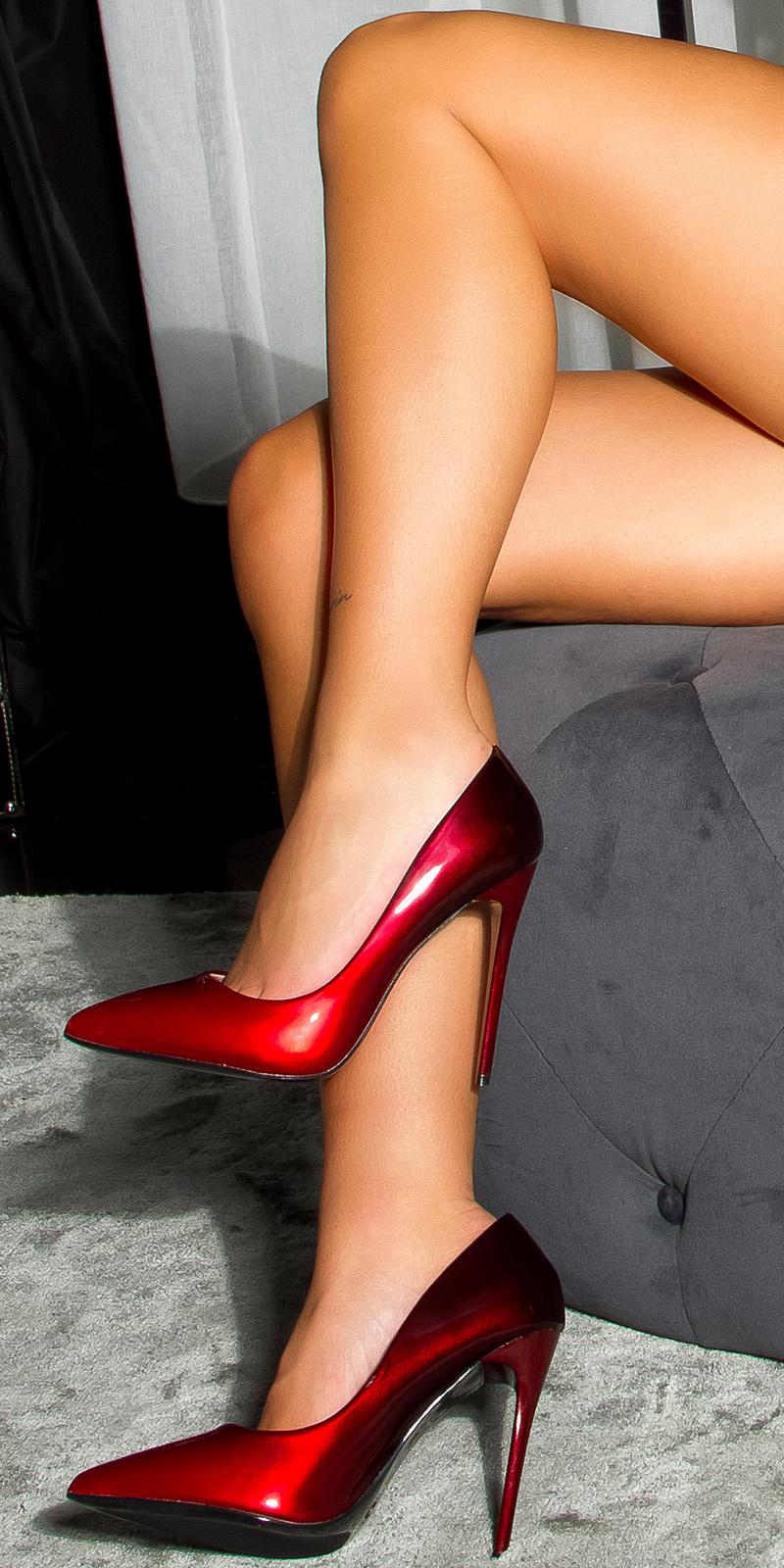 Sexy 2 kleuren hoge hakken pumps rood