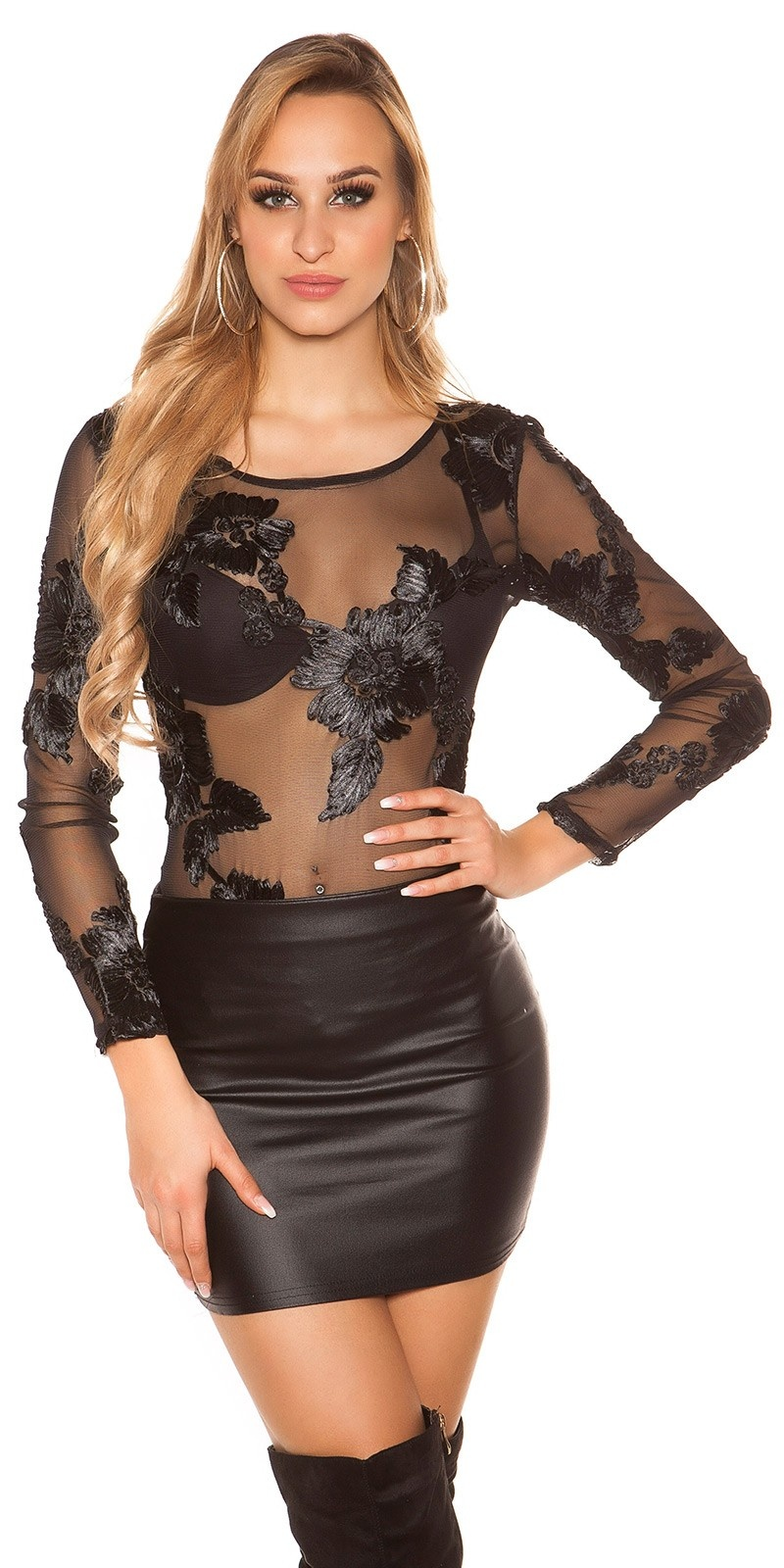 Sexy long sleeve bodysuit with flower decoration Black