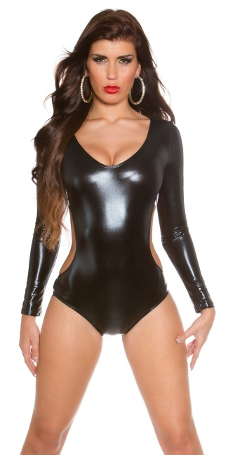 Sexy Body Wetlook Backless Black