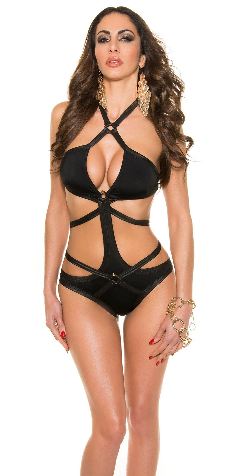 so Sexy! Koucla Bondage-Swim- Monokini Black