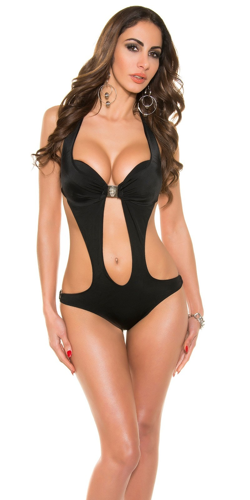 Trendy KouCla monokini with skull buckle Black