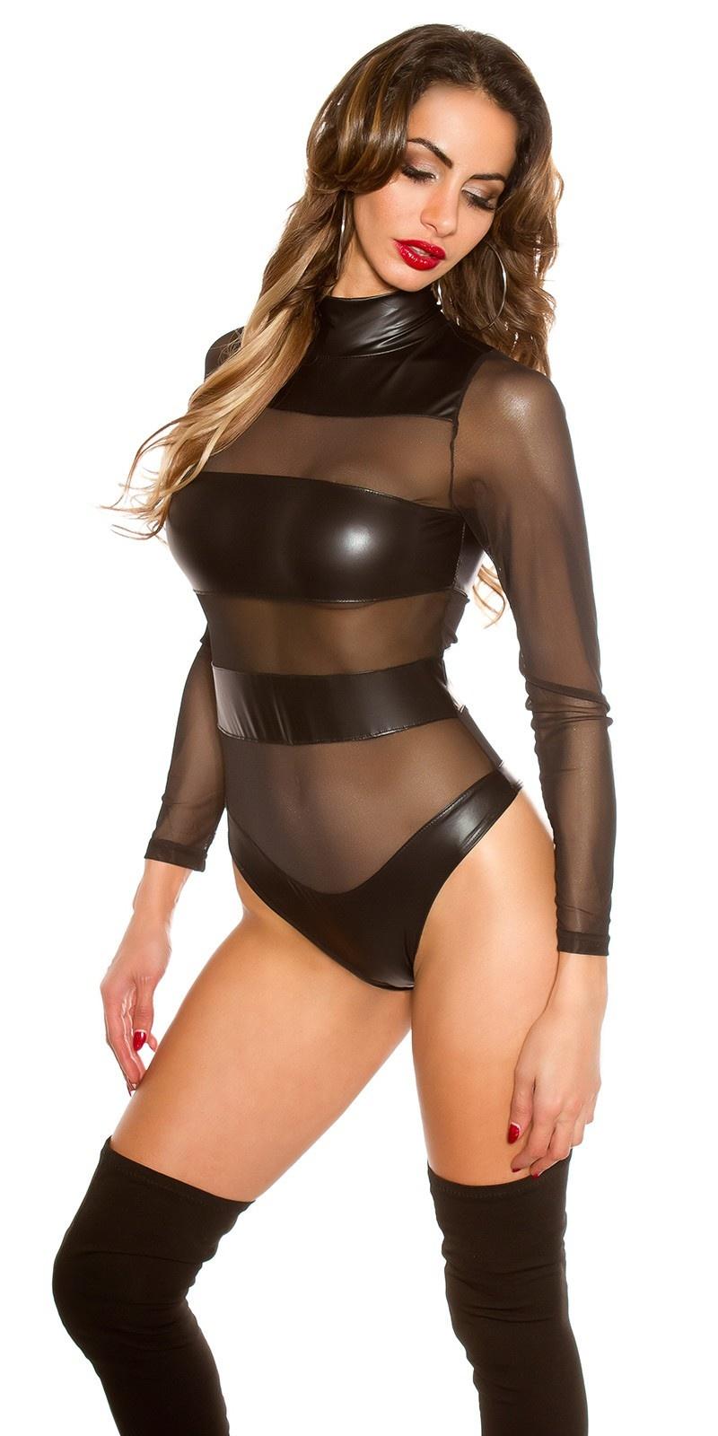 Sexy lange mouw body met gaasstof zwart
