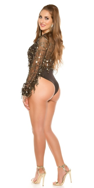 Sexy KouCla party bodysuit with sequin threads Black