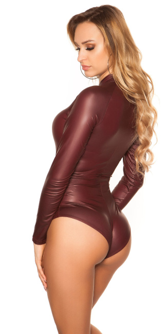 Sexy KouCla Wetlook Body Longsleeve Bordeaux