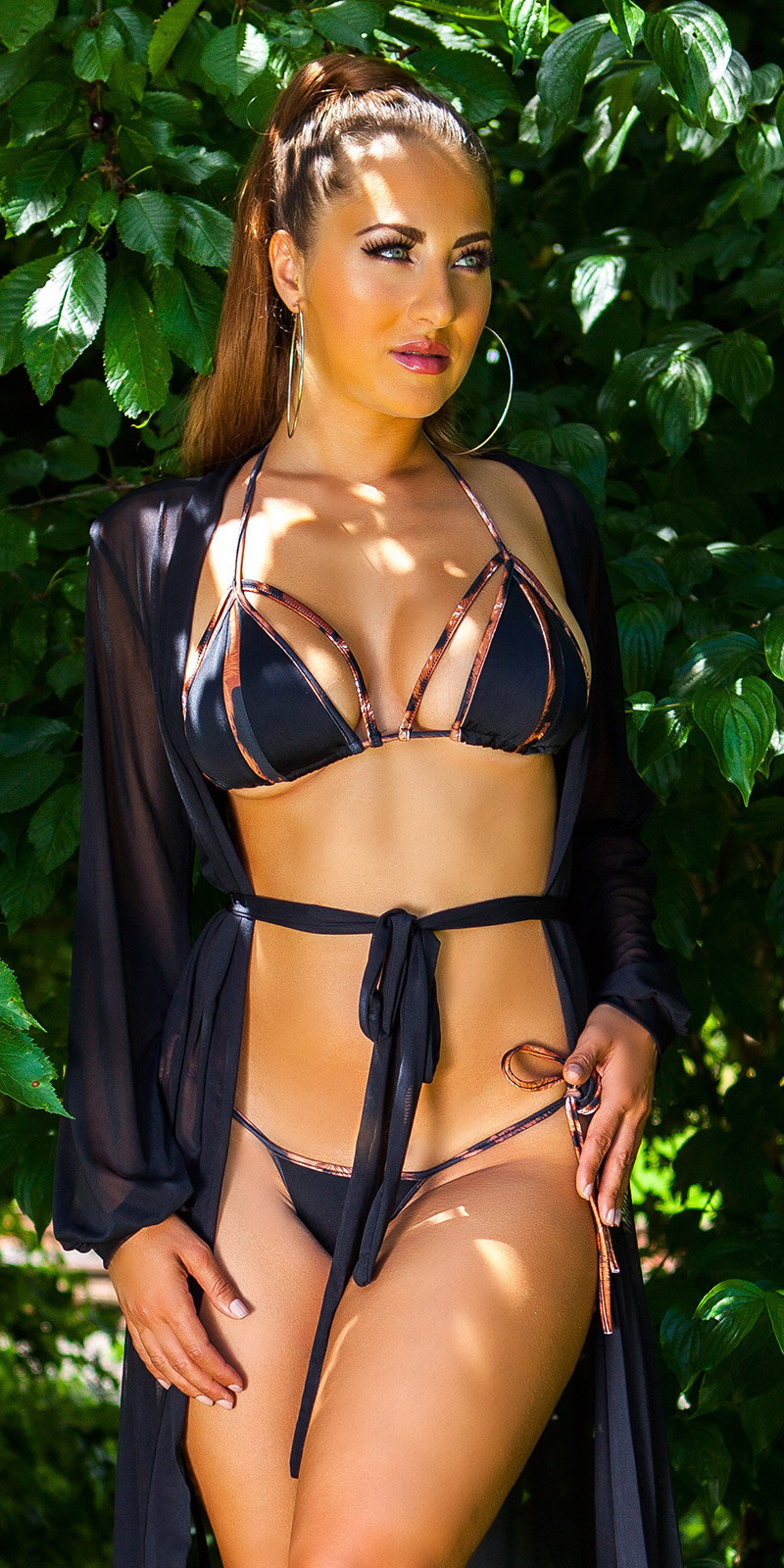 Sexy halter-bikini met verwijderbare pads zwart