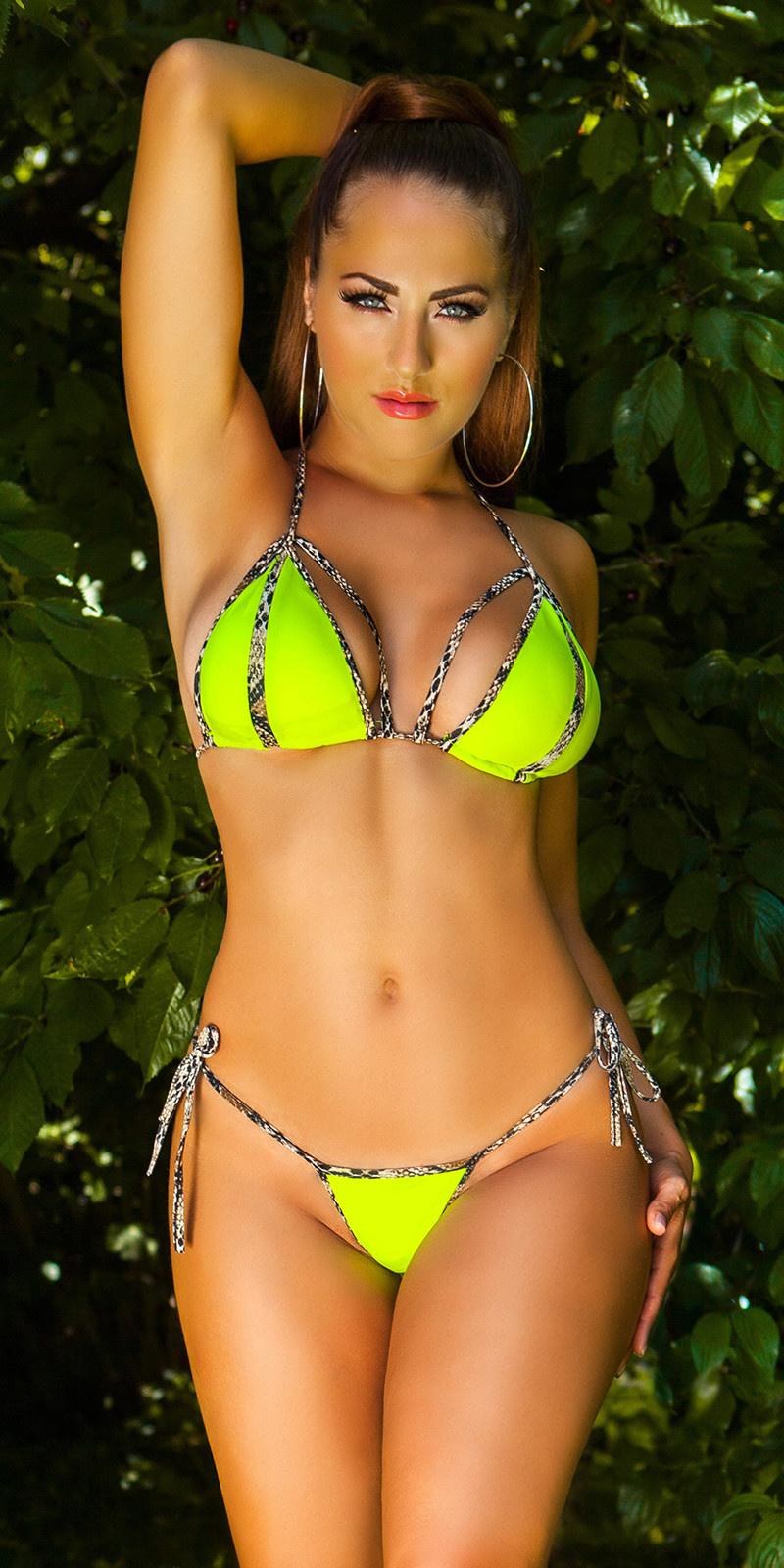 Sexy halter-bikini met verwijderbare pads neongeel