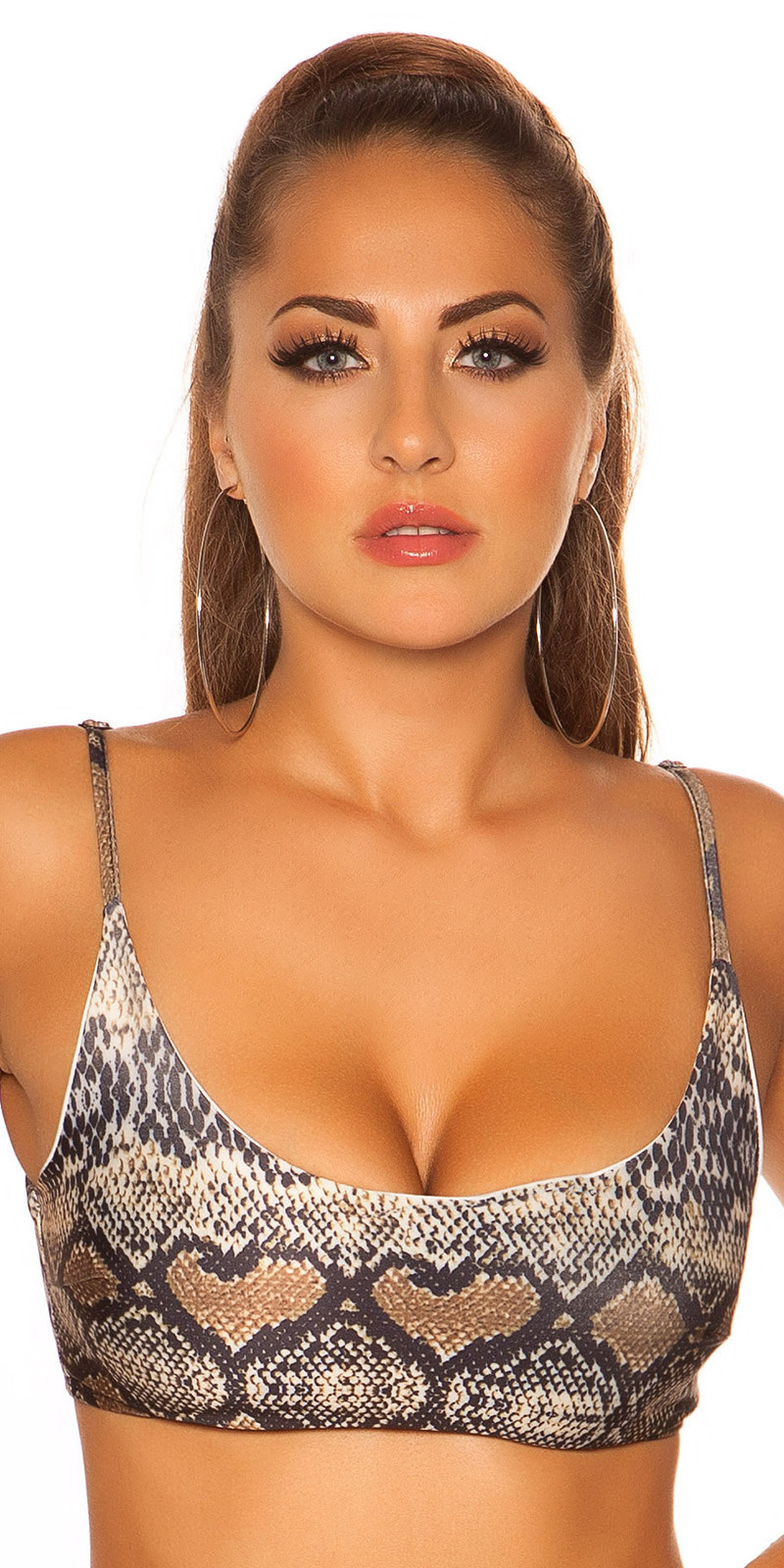 Mix it!!! sexy bikini top met verstelbare bandjes slangen-print
