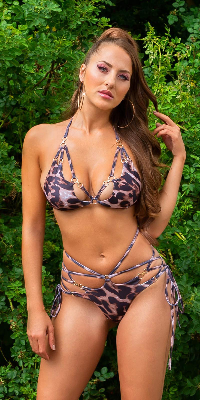 Sexy halter bikini met verwijderbare pads luipaard