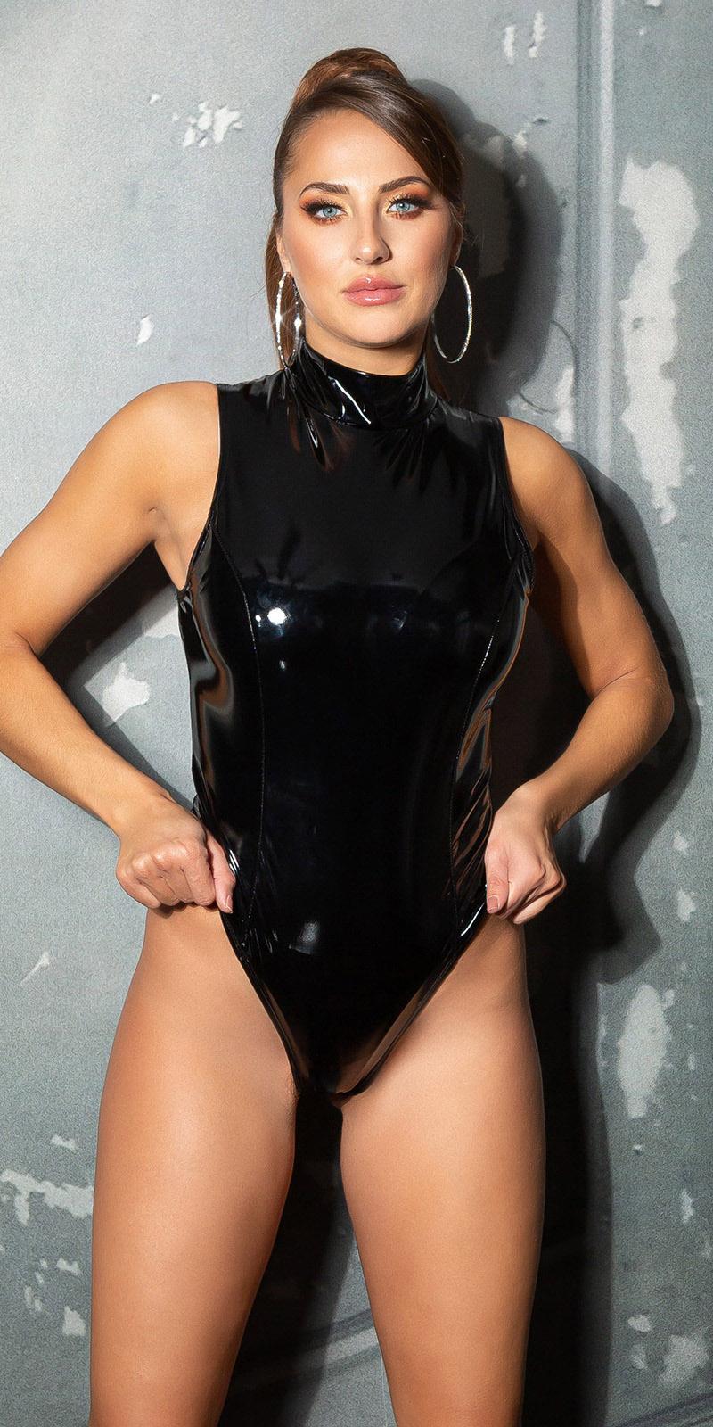 Sexy latex look body zwart