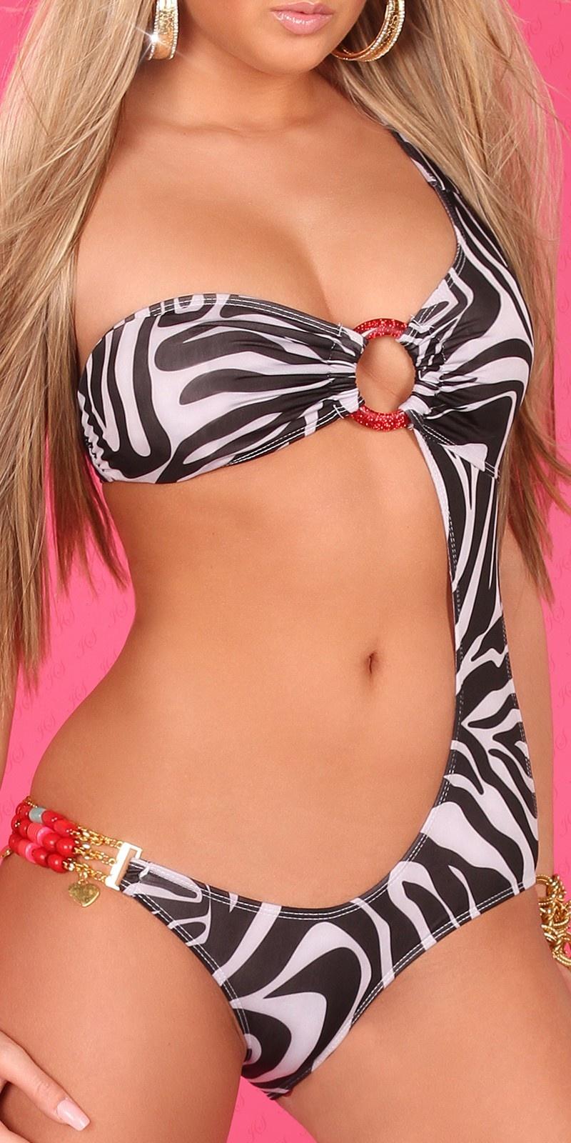 Sexy monokini met parels in dieren-print zebra