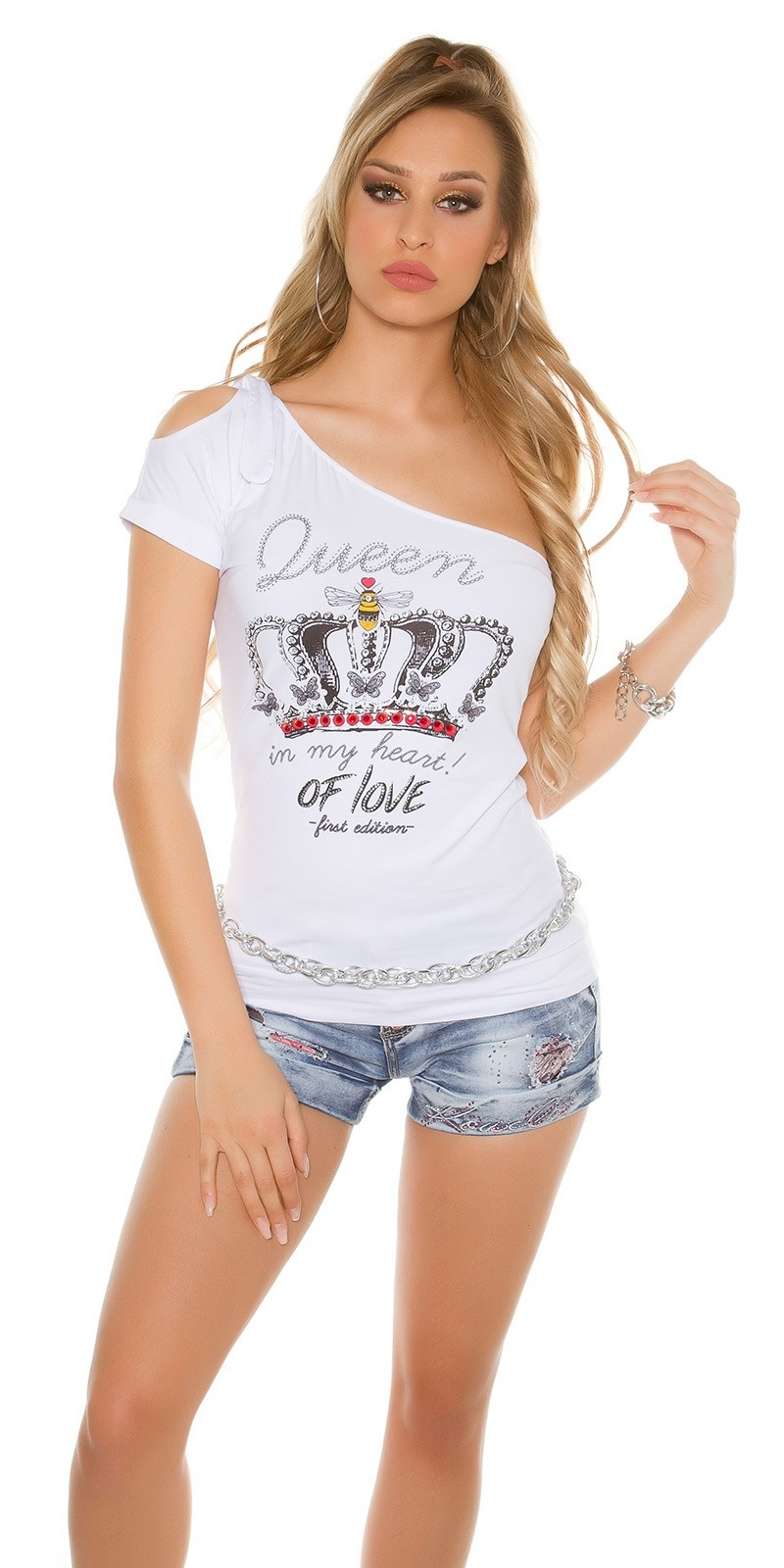Sexy One shoulder shirt with glitter and print White