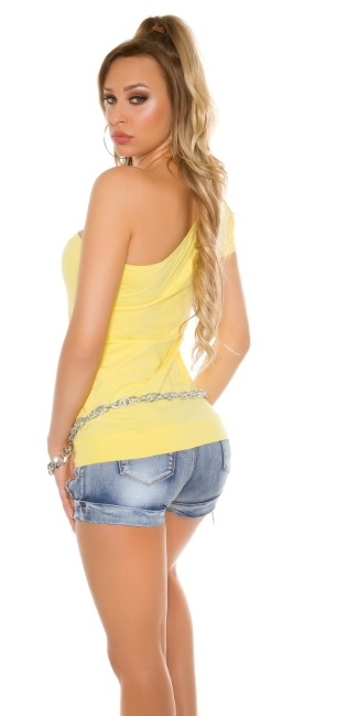 Sexy One shoulder shirt with glitter and print Yellow