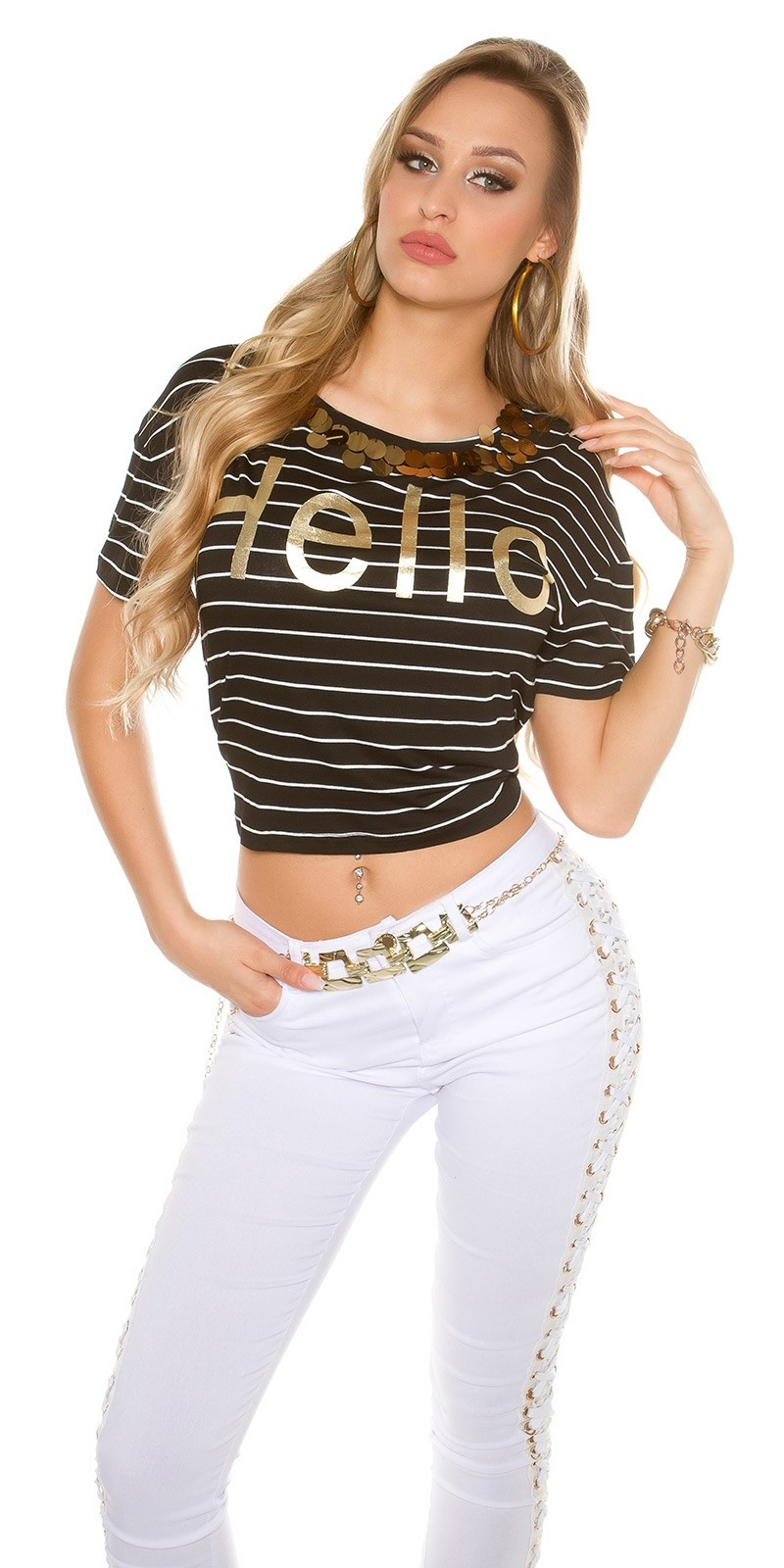 Trendy T-Shirt striped HELLO with sequins Black