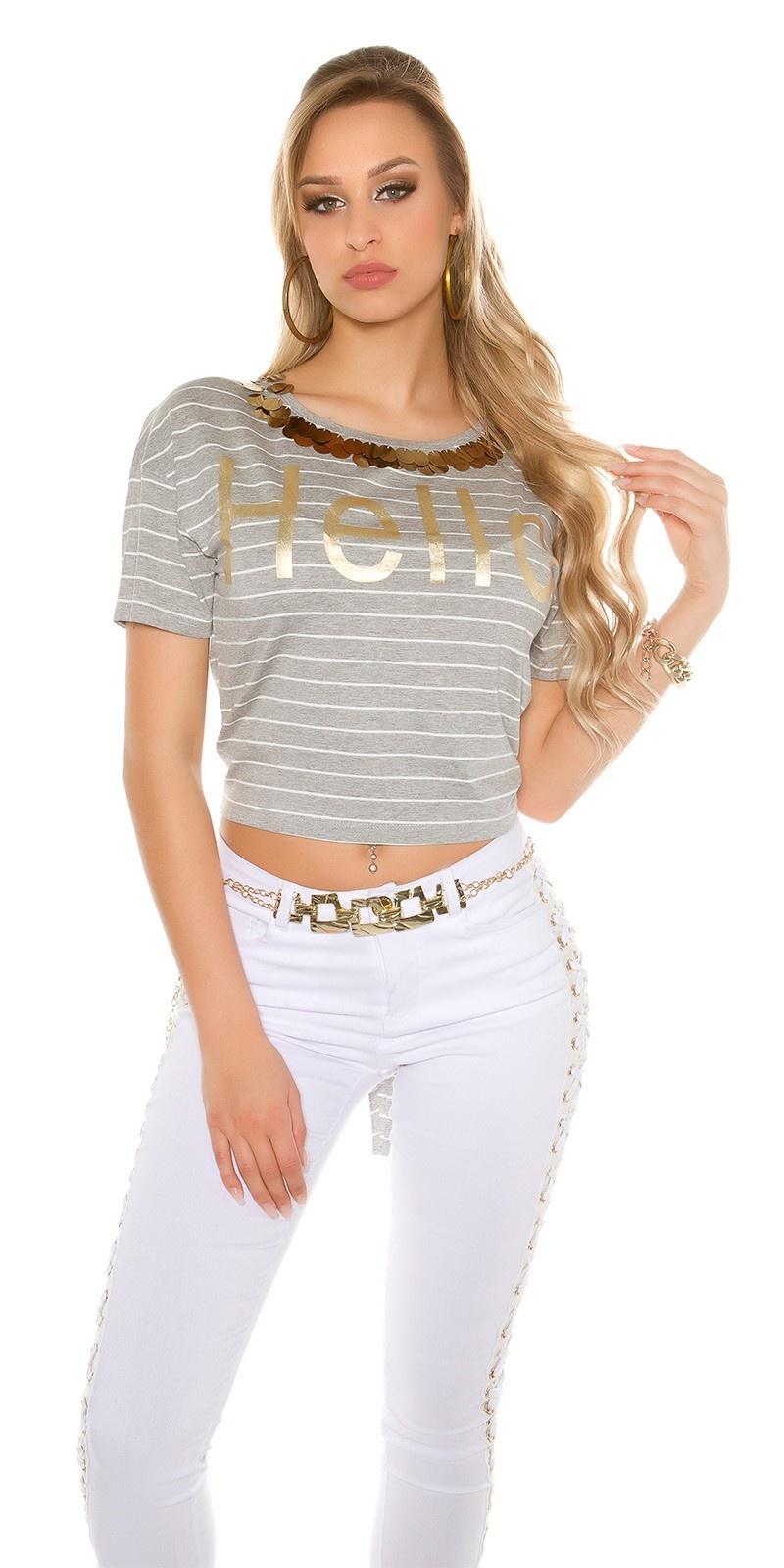 Trendy T-Shirt striped HELLO with sequins Grey