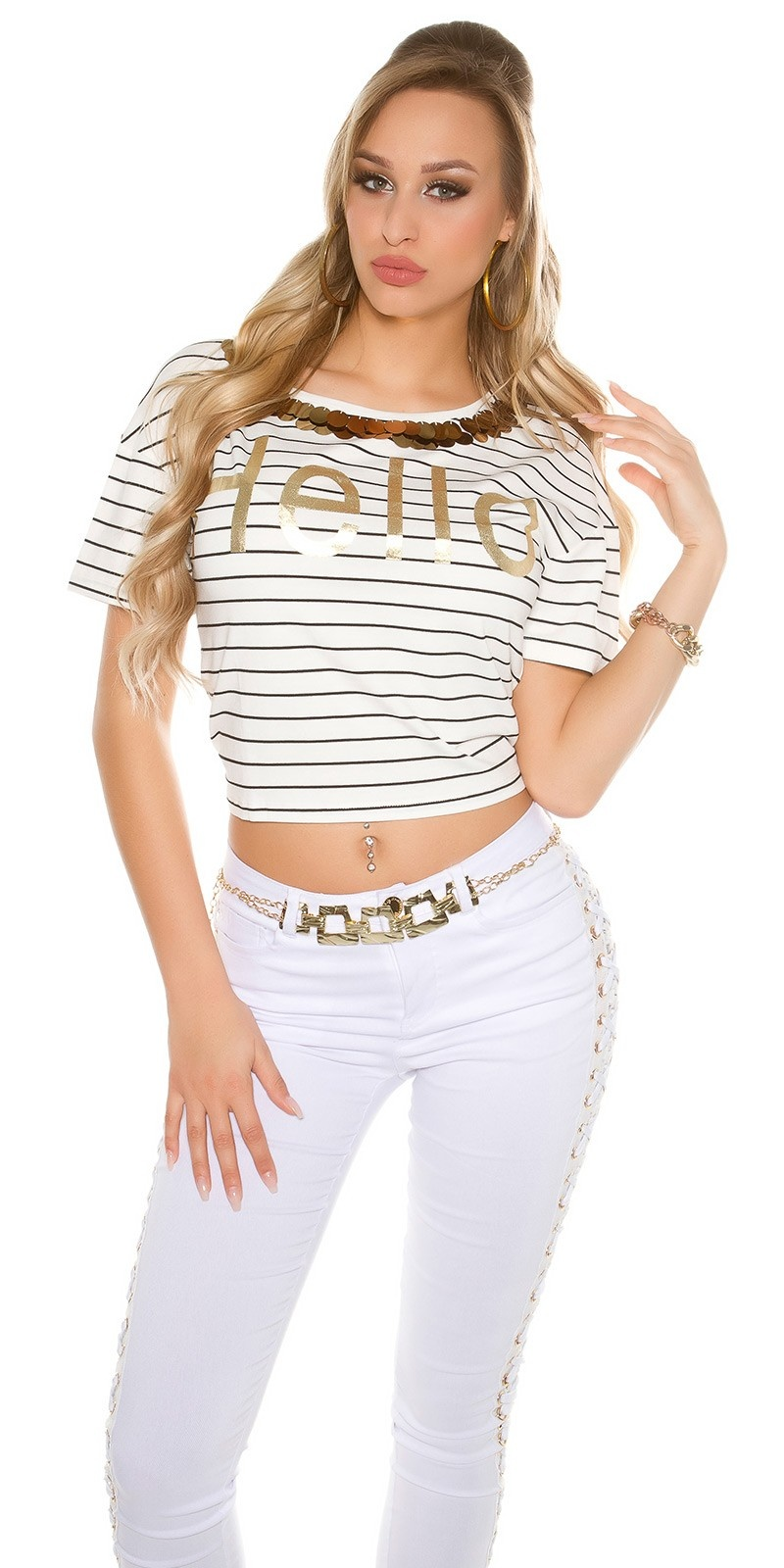 Trendy T-Shirt striped HELLO with sequins White