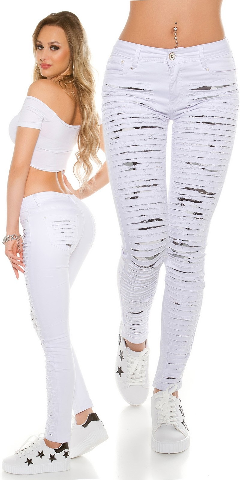 Sexy Skinny Jeans extreme Used with Camouflage White