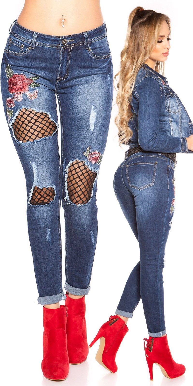 Sexy skinny used jeans w. rhinestones & embroidery Jeansblue