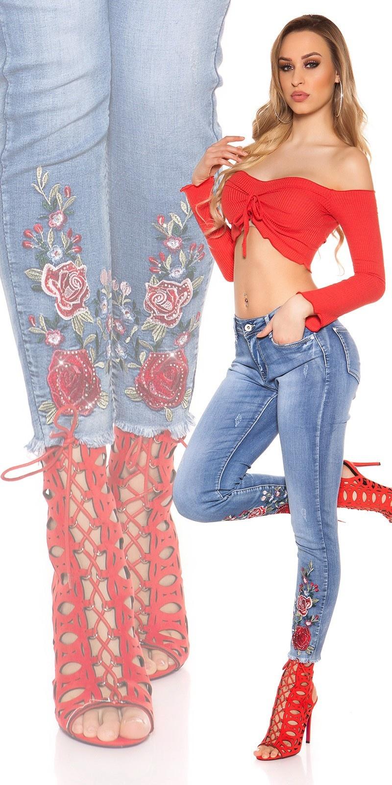 Sexy skinny jeans met bloemen-print borduurwerk & strass steentjes jeansblauw